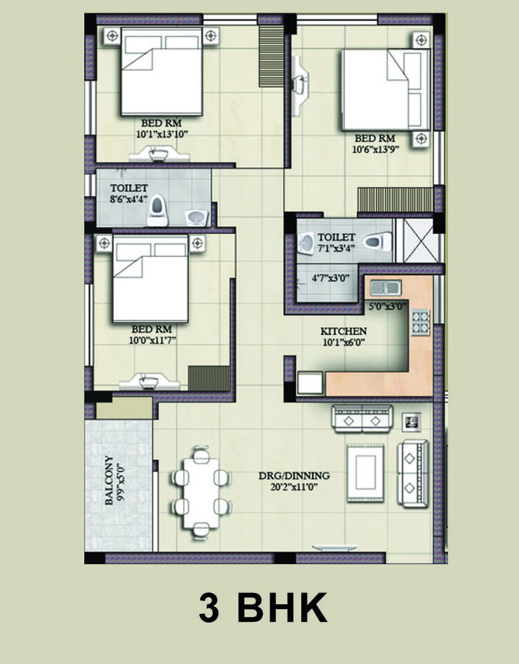 28 3bhk house design plans bollywood heights peer for Plan of 3bhk house